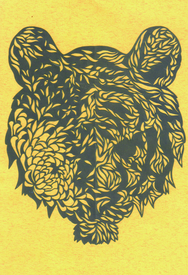 切り絵・菊と虎