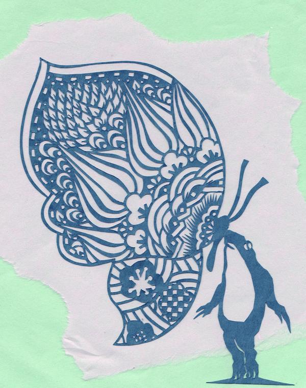切り絵・カエルと蝶と梅