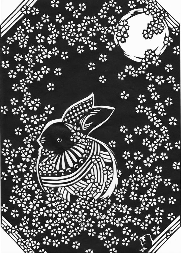 切り絵・うさぎと毬と月と桜
