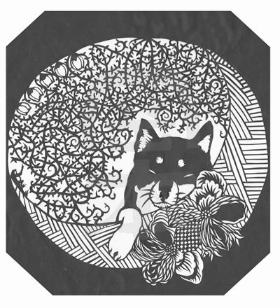 切り絵・ねむり/黒柴犬と海棠