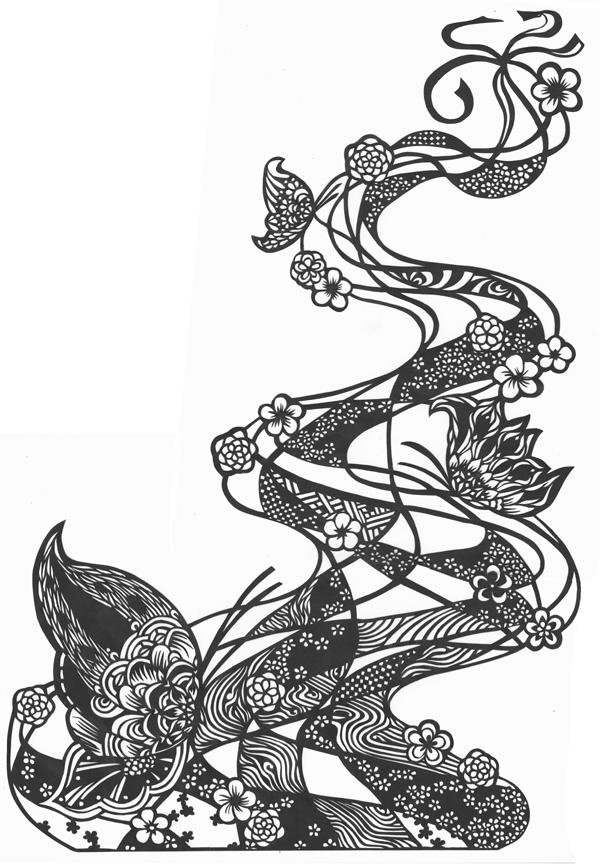 切り絵・流れ、蝶