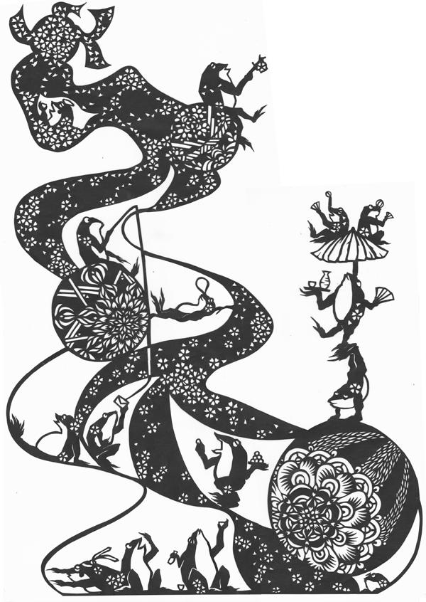 切り絵・流れ、カエル/カエルたちの宴