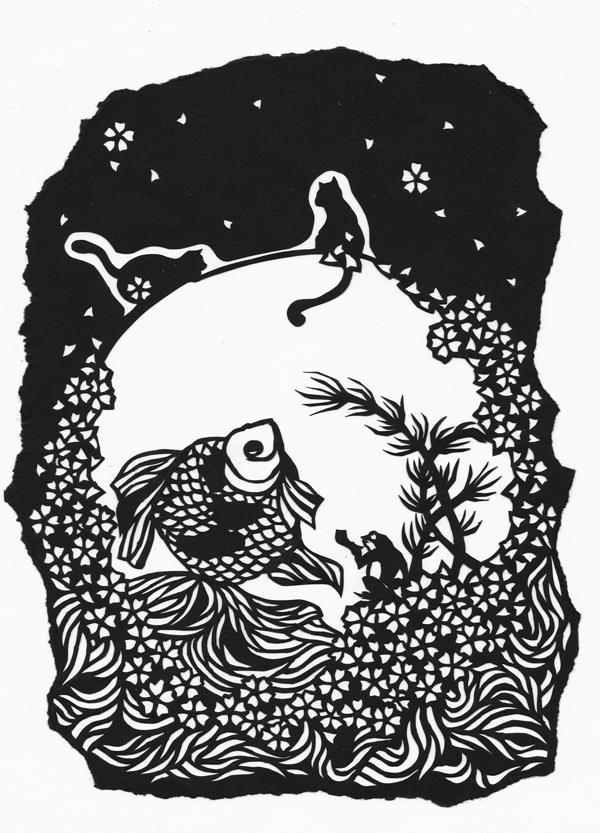 切り絵・猫と金魚/桜