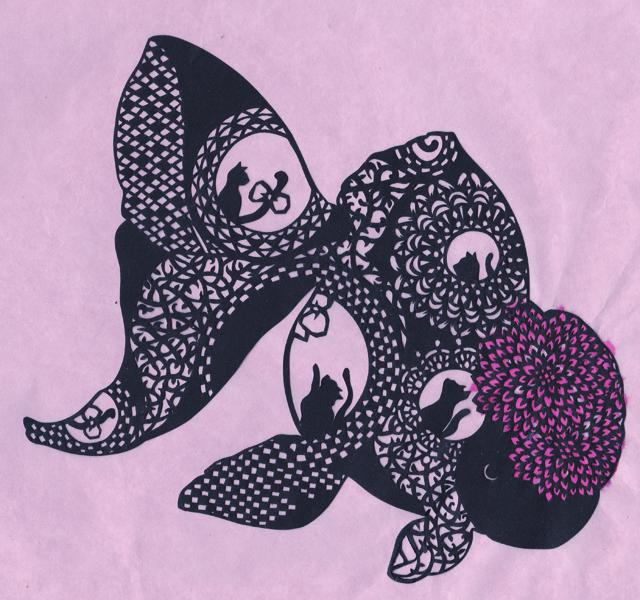 切り絵・金魚/丹頂金魚とダリアと猫たち