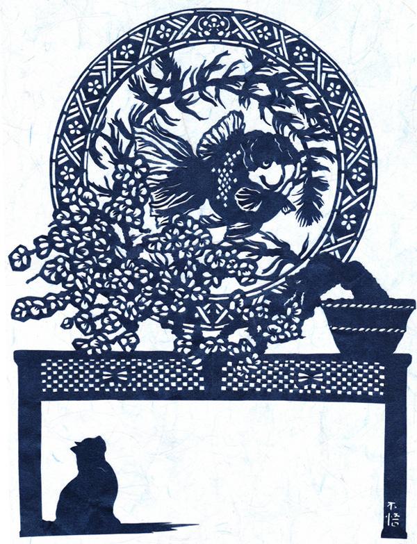 切り絵・猫と金魚/和蘭獅子頭と梅をモチーフに