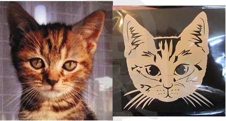 即興紙切り・猫の写真を見ながら