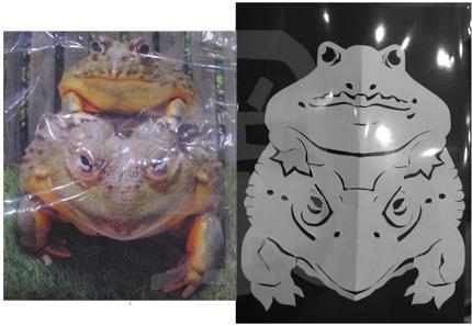 即興紙切り・カエルの写真を見ながら