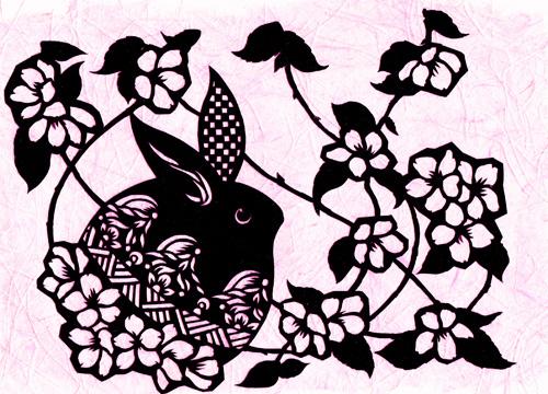 切り絵・うさぎと毬と桜